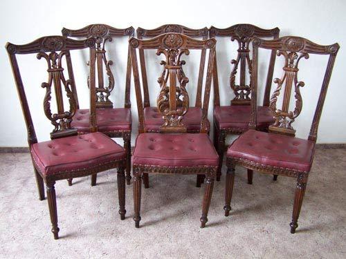 generisch Stuhl-Set 6 Stühle Holzrahmen Nussbaumton Polster Aubergine Chippendale-Stil