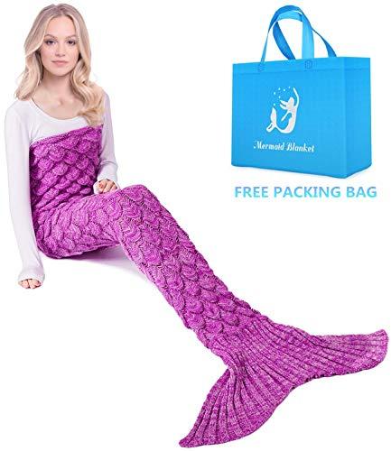 Netchain Mermaid Tail Decke Geburtstagsgeschenke für Frauen Gemütliche warme Hand häkeln Stricken Schlafdecke für Teen Girls Fischschuppe Muster 71