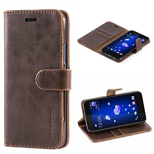 Mulbess Handyhülle für HTC U11 Hülle, Leder Flip Case Schutzhülle für HTC U11 Tasche, Vintage Braun