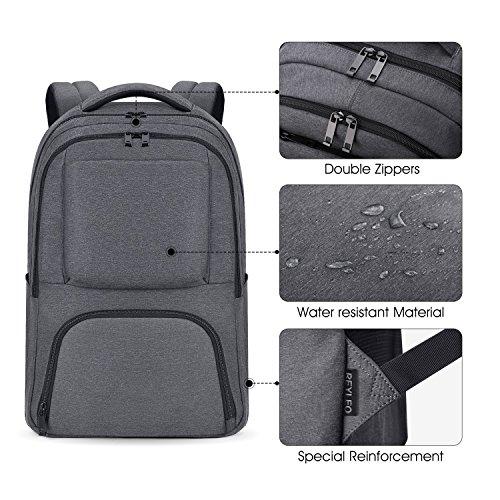 Imagen de reyleo  backpack para portátil hasta 15,6 pulgadas del negocio ocio diario viaje para hombre mujer estudiante  21l gris alternativa