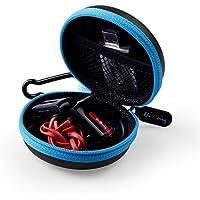 Mini Kopfhörer Tasche mit Schnalle, HiGoing headset ohrhörer Schutztasche für In Ear Ohrhörer, MP3 Player, iPod Nano, Schlüssel, Lovely Macarons Aussehen ( Innenmaß 6.8cm x 6.8cm x 4.0cm ) (Blau und Schwarz)