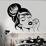 Myvovo Autocollant Mural Vinyle De Mode CréativeBelle Fille Visage Coiffure Maquillage Autocollants 50 * 57Cm