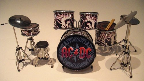 Rock Guitar Miniatures RGM301 AC/DC Miniaturschlagzeug schwarz/rot Brian Johnson Malcolm Young Phil Rudd Angus Young Cliff Williams Freitag On My Mind Hochspannung T.N.T.Black Ice Rock n 'Roll Train