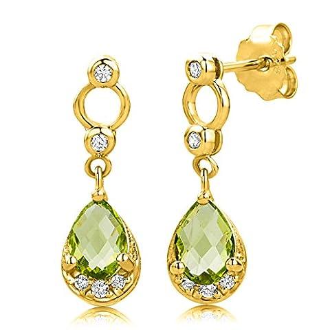 Byjoy 925 Gold Plated Pear Shape Peridot Dangle Earrings
