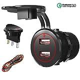 Quick Charge 3.0 USB Auto Steckdose KFZ Ladegerät Buchse mit LED Schalter 12V/24V Wasserdicht Zigarettenanzünder Einbau Steckdose Adapter Auto Anschluss Dose 36W QC 3.0 für Boot Motorrad LKW ATV