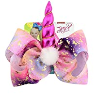 JOJO Siwa Large Unicorn Mermaid Print Signature Hair Bow - Party Favor - - Rosy Red
