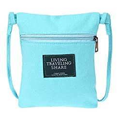 Rrimin Zipper Square Solid Leisure Shoulder Bag Reusable Tote Shopping Bag(Blue)