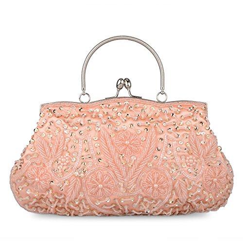 Baglamor Fashion Perlen Handtasche Winter Handtasche Kissing Lock Tasche Satin Abend Kupplung Champagner