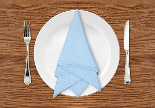 Linenwalas Premium Cotton Hopsack Table Napkins (Light Blue, Set of 6)