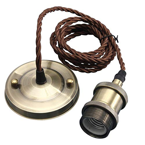 KINGSO E27 Lámpara Colgante Vintage Retro Antigua Lámpara Edison Base 110-250V Adaptador de Enchufe de Cobre con 2m Cable Bronce Antiguo (Bronce Antiguo)