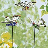 """Leuchtstecker """"Schmetterlinge"""", 3 Stück , dekorative Gartenstecker aus Metall und Kunststein"""