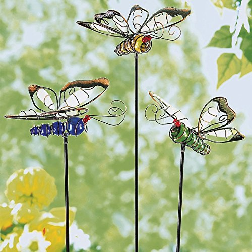 """Leuchtstecker \""""Schmetterlinge\"""", 3 Stück, Gartendekoration, Sommerdekoration, fluoreszierende Stecker, Metall, Kunststein, 14 x 12 cm, 50 cm"""