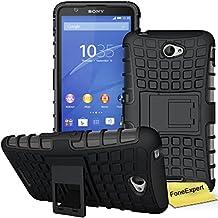 Sony Xperia E4 Funda, FoneExpert® Heavy Duty silicona híbrida con soporte Cáscara de Cubierta Protectora de Doble Capa Funda Caso para Sony Xperia E4 + Protector Pantalla (Negro)