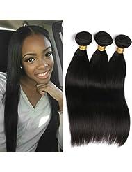 3 Paquets De Tissage Des Cheveux Droits Péruviens 100% Cheveux Naturels Extensions Tissée Couleur Naturelle 300g...