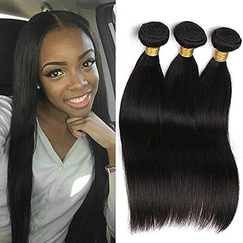 3 Paquets De Tissage Des Cheveux Droits Péruviens 100% Cheveux