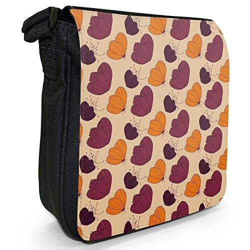 Fancy A Snuggle, Borsa a tracolla donna Blütenblätter Blumen Orange & Violett