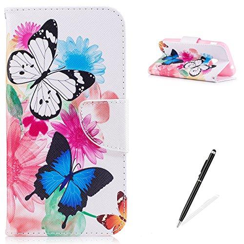 MAGQI for Samsung Galaxy Xcover4/G390F Hülle PU Leder Case Flip Wallet Tasche Niedlich Tier Schön Rosa Blume Schmetterling Brieftasche Schutz Zwei Schmetterling