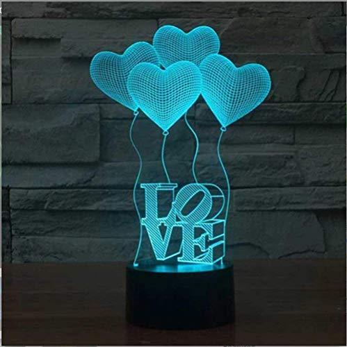 YKMY Liebe Ballon 3D Illusion Lampe LED Nachtlicht, USB Powered 7 Farben Blinkt Berührungsschalter Nachtlicht, Schlafzimmer Dekoration Beleuchtung für Neuheit Weihnachten Geburtstagsgeschenk (Weihnachts-schlafzimmer Dekorationen)