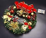 Coxeer Weihnachtskranz, Türkranz Weihnachten Weihnachtsdeko Kranz Weihnachtsgirlande mit Kugeln Handarbeit Weihnachten Garland Deko-Kranz (Mehrfarbig-Bell) - 4