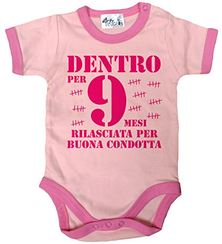 Dirty Fingers, Dentro per 9 mesi rilasciata, Baby Body finiture colorate, 3-6 m, Rosa