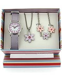 The Olivia Collection- Armbanduhr, Anhänger und Armband mit Blumen.Geschenkset KS001