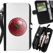 STPlus Bandera y balón marroquíes del equipo de fútbol de Marruecos Monedero Con Correa y Cremallera Carcasa Funda para Samsung Galaxy A5 (2016)