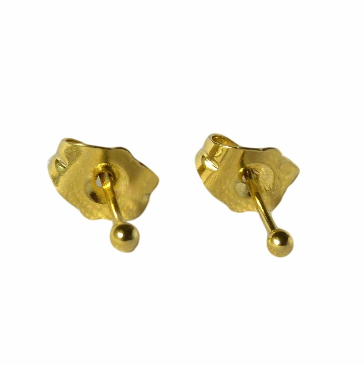 Teeny Tiny Small 18ct Gold Filled Ball Stud Earrings 2mm Girls Womens