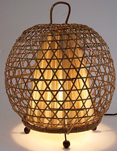 Guru-Shop Tischlampe/Tischleuchte Miguel - in Bali Handgemacht aus Naturmaterial, Bambus, 38x32x32 cm, Dekolampe Stimmungsleuchte - Asiatische Tischleuchte