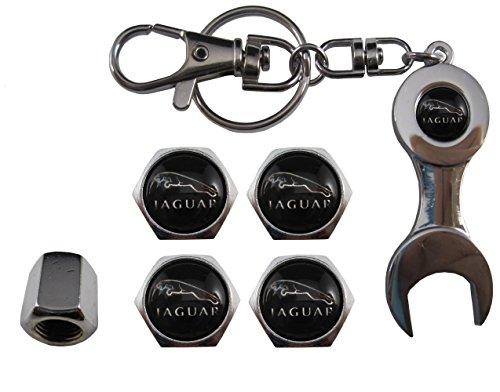 Valvulas de acero inoxidable para coche + llavero Jaguar negro aut011-36