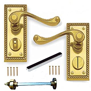 Polished Brass Georgian Suite Privacy WC Door Handles Pair
