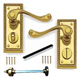 Polished Brass Georgian Suite Privacy WC Door Handles Pair by Discount Hardware UK
