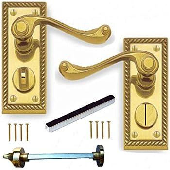 georgian brass bathroom door handles with lock. polished brass georgian suite privacy wc door handles pair bathroom with lock b