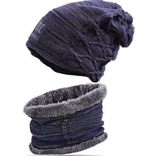 Bestele caldo cappello e sciarpa set per uomo/donna, unisex inverno warmer beanie cappelli scaldacollo, maglia berretto caldo a fodera di lana beanie cappellini per lo sci sportivo correre ecc