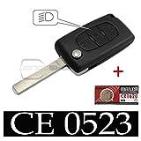 Schutzhülle-Schlüssel für Kfz Funkschlüsselgehäuse für-Fernbedienung Citroen C4, C5und C6mit Batterie Maxell CR1620(