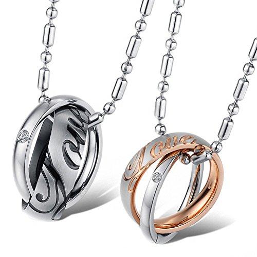 Jewow gioielli 2 pcs acciaio inossidabile inciso impegno collana interblocco per coppia amanti regalo