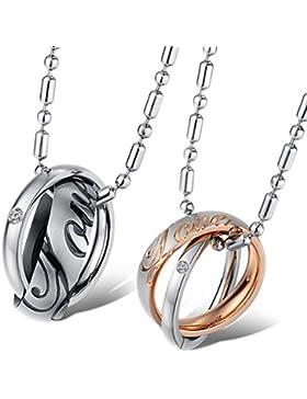 Jewow Schmuck Edelstahl Verliebte Paar Halskette Anhänger mit Gravur Geschenk für Sie und Ihn