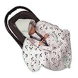 MoMika NEU - Einschlagdecke, Universal für Babyschale, Autositz, für Kinderwagen, Buggy oder Babybett, aus Waffelpique (Aquamarin)