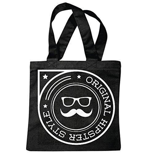Tasche Umhängetasche ORIGINAL Hipster Style Friseur Brille Geek SCHNAUZBART Schnurrbart Nerd Friseur Barber FRISEURSALON FRISEURMEISTER FRISEUSE FRISEURMEISTERIN Einkaufstasche Schulbeutel Turnbeut