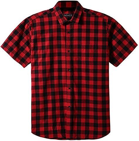 JEETOO Classics Herren Slim Kariert Kurzarm Hemd Freizeit Hemd Baumwolle Button-down Modern Hemd, (XX-Large, Rot und Schwarz)