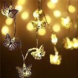 20er LED Lichterkette mit Batterie, Lichterkette innen Kinderzimmer, Deko Schmetterling batteriebetrieben, Weihnachten/Hochzeit/ Party/Weihnachtsbaum/ Dekolampe/Halloween, warmweiß