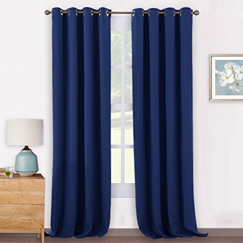 Pony dance tende corte blu da sola per camera da letto cucina, 140 x 240 cm (larghezza x lungo), 2 pezzi