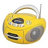 Majestic AH 1487 BT MP3 USB - Boom Box Portatile con Lettore CD/MP3, Bluetooth, Radio PLL, Cassetta, Ingresso USB, giallo