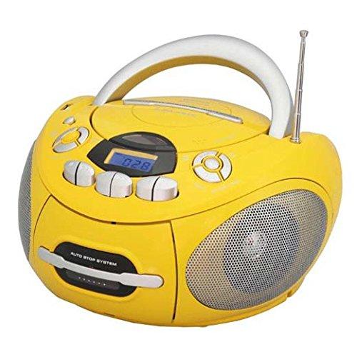 Majestic 101487_YE Boom Box Portatile con Lettore CD/MP3, Funzione Bluetooth, Giallo