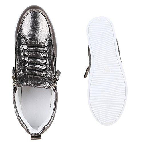 Damen Sneaker-Wedges Keilabsatz Bequem Zipper Metallic Glitzer Grau Metallic