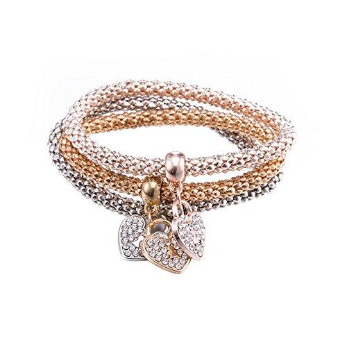 Styleziel Damen Armband Set 3 Armbänder mit kleinen Herzen als Anhänger Rotgold Gold Silber pl mit Zirkonia Kristalle Zip 2122