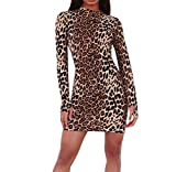 Damen Rollkragen Kleider Langarm Leopard Muster Bodycon Kurze Bodenbildung Dress Party Club wear Abendkleid