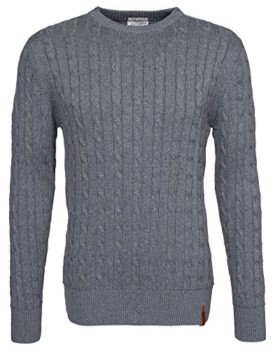 Knowledge Cotton Herren Cable Knit Grey Melange X-Large (Cable Knit X-large)