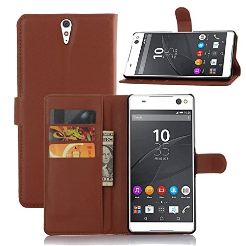 Tasche für Sony Xperia C5 Ultra (6 zoll) Hülle, Ycloud PU Ledertasche Flip Cover Wallet Case Handyhülle mit Stand Function Credit Card Slots Bookstyle Purse Design braun