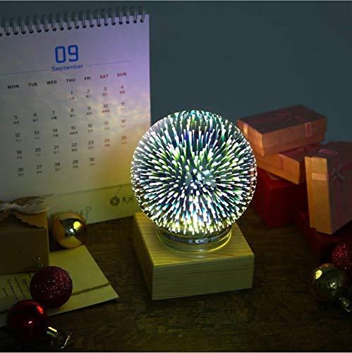 Nachtlicht 3D Glas Magische Lampe Led Schlafzimmer Dekor Planet Rose Schnee Sterne Schmetterling Blenden Farbe Usb Atmosphäre Tischlampe