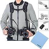 Tracolla doppia fotocamera imbracatura doppia fotocamera cinghia da polso e di sicurezza cinghia regolabile a rilascio rapido per DSLR SLR (ZTOWOTO)